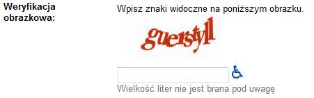 Przykład zastosowania CAPTCHA