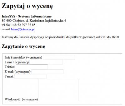 Fragment naszej strony firmowej z wyłączonym CSS-em. Widać nagłówki, linki i formularz, ale nie są ostylowane.